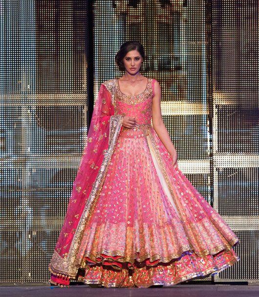 nargis-fakhri-walks-the-ramp-in-a-classic-pink-lehenga-1-2 - SayShaadi Blog