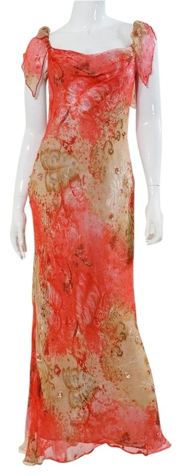 """Vintage Victoria Royal Pink Beige Print Chiffon Beaded Floral Gown Maxi Dress. Vintage, New without Tags. Circa 1950s-1960s. Size US 4, 75% Silk, 25% Rayon, Dry Clean Only. Bust 30"""", Waist 28"""", Length 52"""". Retail $800"""