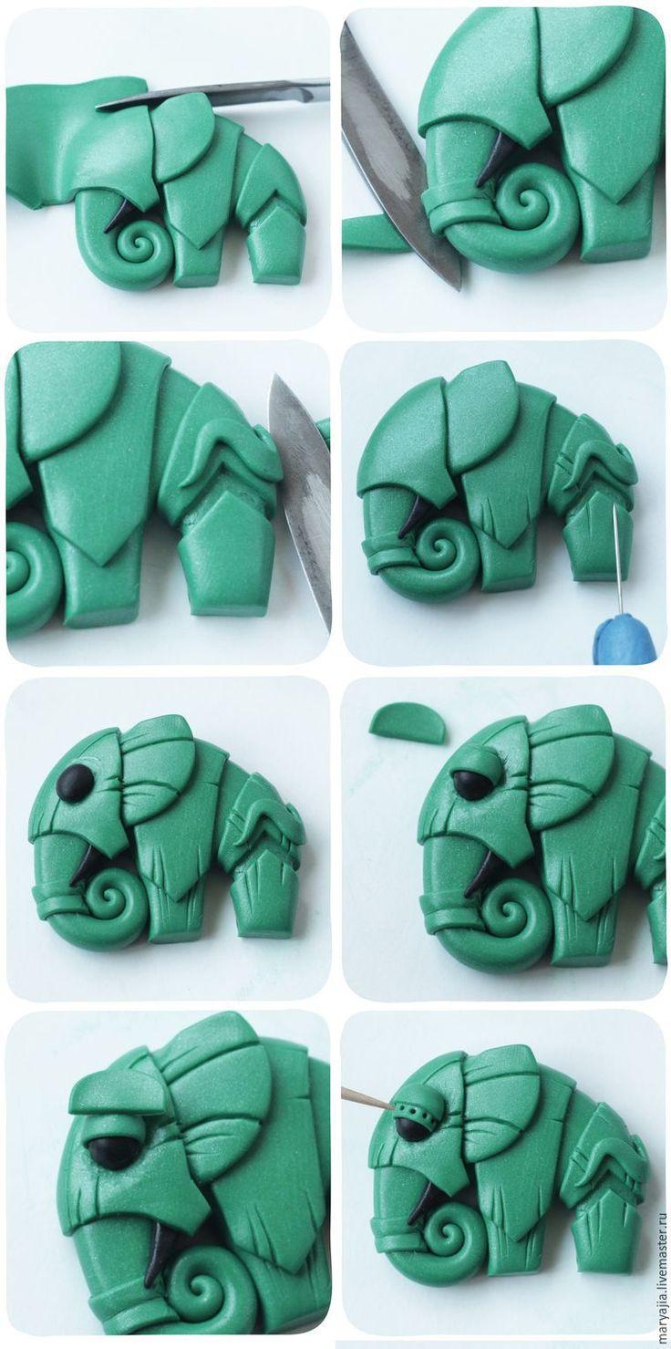 Elephant in polymer clay.