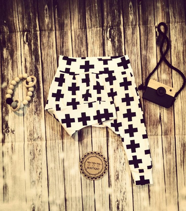 Cross, Monochrome Harem Pants, Unisex Harem Pants, Cross Print Pants
