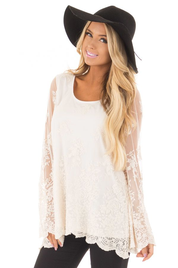 8ab0c7a827ceb Lime Lush Boutique - Ivory Blouse with Sheer Lace Sleeves