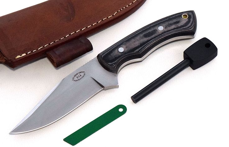 "CFK Cutlery Company USA Custom Handmade D2 Tool Steel DEER ELK MOOSE Hunter Skinning Micarta Camp Knife with Leather Sheath & Fire Starter Rod Set CFK24. KNIFE SPECS: 9"" Overall, 4 1/2"" Blade, 4"" Cutting Edge, 1 1/4"" Width, 1/4"" Blade Thickness, 4 5/8"" Long Handle, 8 Ounces. Handmade D2 Tool Steel Full Tang Hollow Grind Blade - Vacuum Hardened 59HRC - Balanced and Sharp!. Black & Tan Micarta Handle Scales - Aluminum Rod Pins - Brass Tube Lanyard Hole. High Quality Buffalo Leather…"