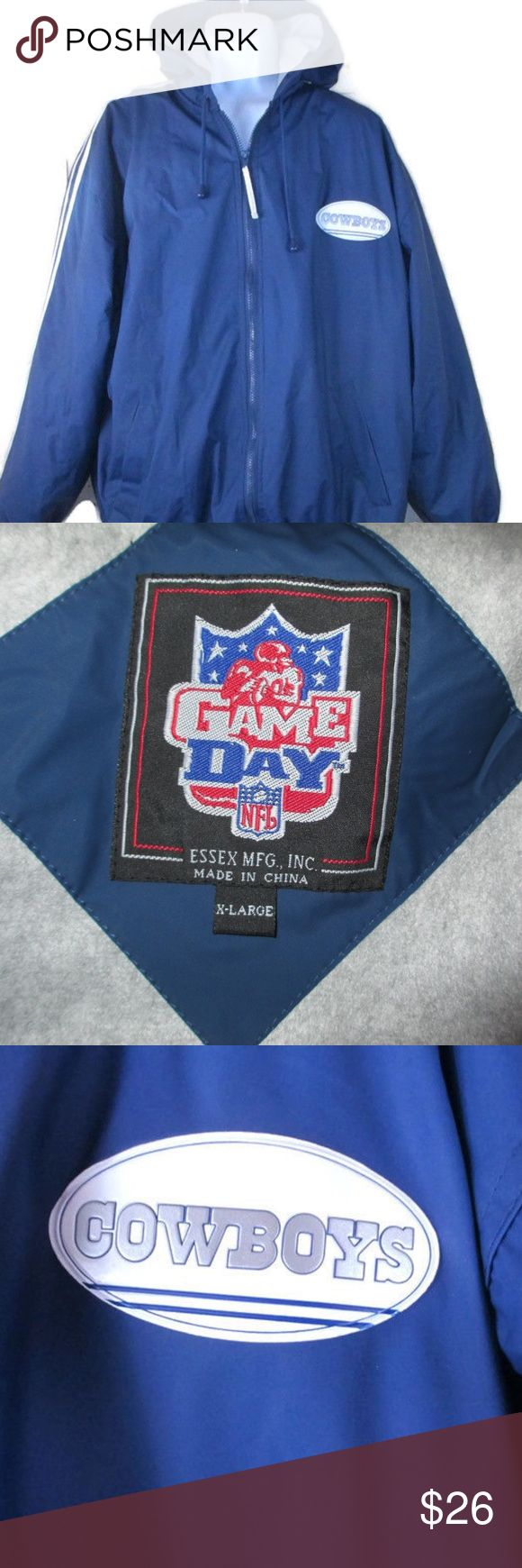 Essex Dallas Cowboys XL Game Day Coat NFL Jacket Essex Game Dame NFL Vintage Zip Up Dallas Cowboys Jacket/Coat Hooded Size XL Cowboys Logo On Front Zip Up Excellent Condition!   * No Trades * Reasonable Offers * Happy Shopping! :) Essex Jackets & Coats