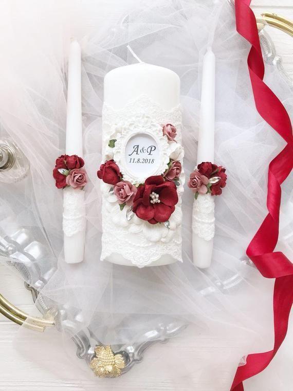 Bourgondische bruiloft Unity kaarsenset Kastanjebruine en gouden bruiloft decora…