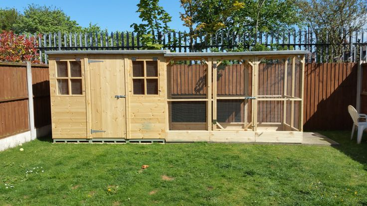 Large -8x4ft apex rabbit shed and run, shelves and ramps made in the UK by joiners from Boyle's Pet Housing in Warrington.