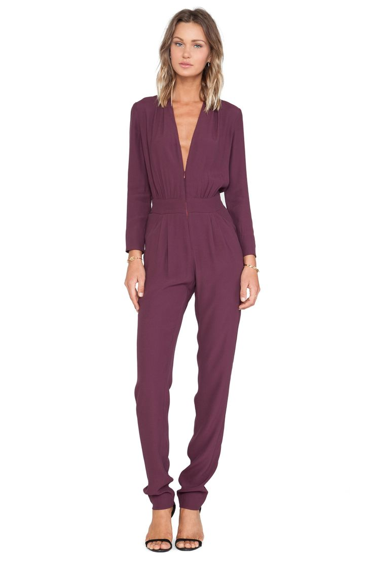 Twelfth Street By Cynthia Vincent Zip Front Jumpsuit in Burgundy | REVOLVE