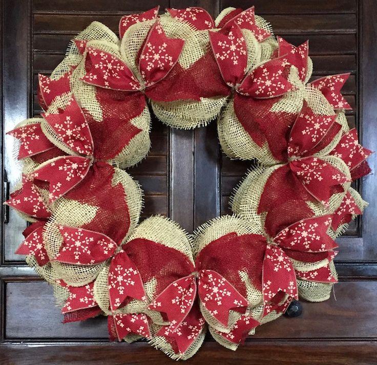 Christmas Snowflake Burlap Wreath