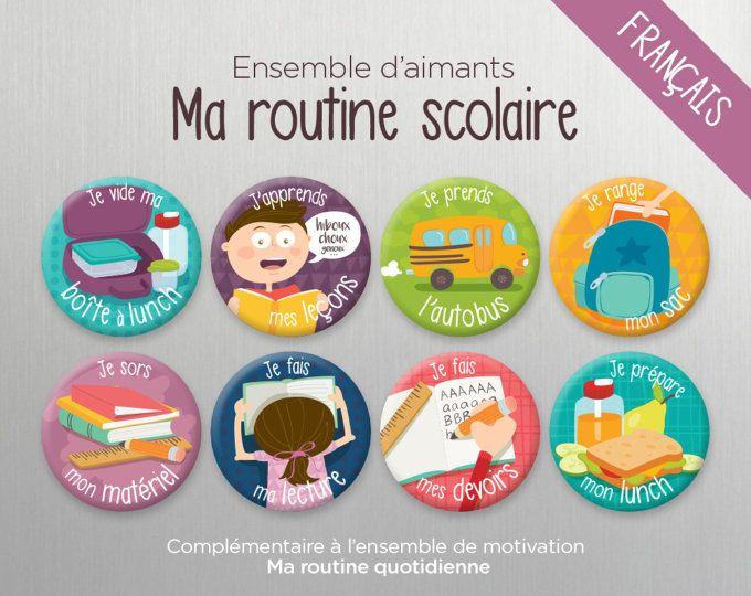 Ensemble d'aimants Ma routine scolaire - Aimants - Tableau - École - Devoirs - Leçons - Autobus - Lunch - Lecture - Marmots - Minimo