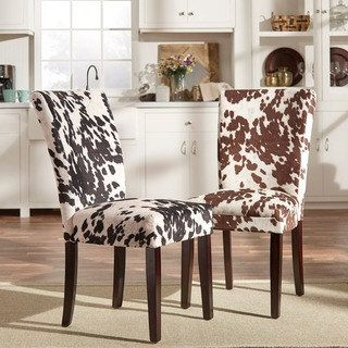 Fancy Shop for Portman Cow Hide Parson Dining Chairs Set of by iNSPIRE Q Bold Get free shipping at Overstock Your Online Furniture Outlet Store