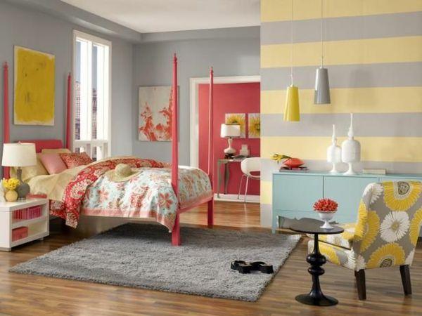 streifen waagerecht Kombinationen von Wandfarben grau gelb