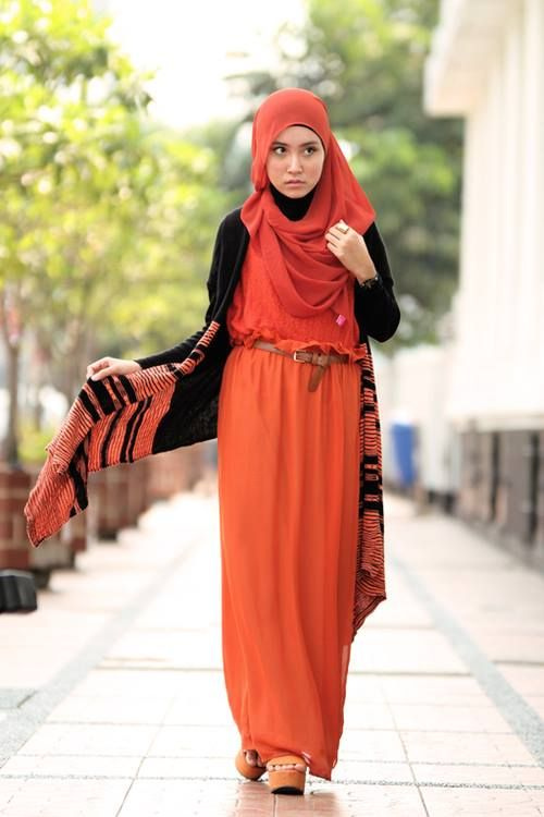 Unique Orange Dress w/ Vest (orange and black) Simple Hijab