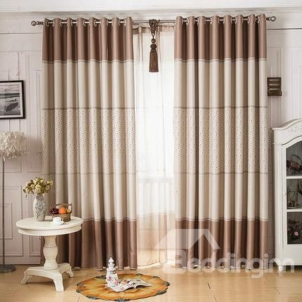 Contemporary High Shading Degree Cute Dots Design Grommet Top Curtain Dining Room