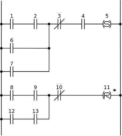 """Sample ladder logic diagram created using Dia #ladder #logic #dia #free #opensource List of objects in Dia's """"Contact"""" sheet: http://dia-installer.de/shapes/Contact/index.html.en"""