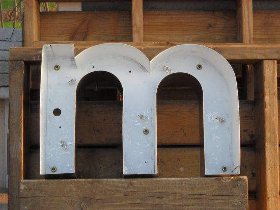 Letter M Wall Decor vintage metal wall letter - m -industrial salvage - wall decor