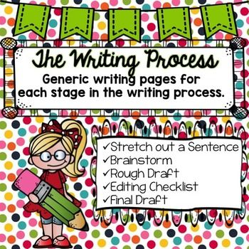 This pack contains everything you need to work through the writing process with your students. These include:-Stretching out a Sentence-Brainstorm- web for five details and web for six details-Rough Draft-Topic, three details, and a closing sentence; one page with a student written title and one page titled Rough Draft. -Editing Checklist-Final Draft- full page of elementary writing lined paper; one page indented for student, and the other is not indented.