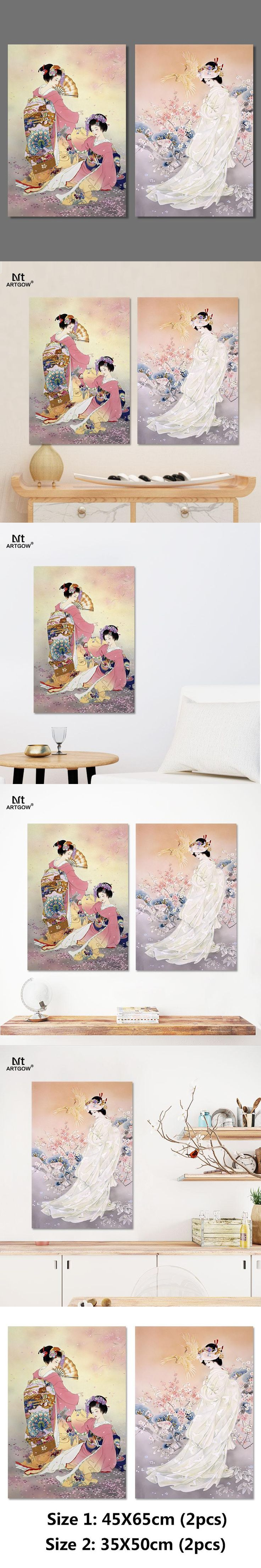 Japan style pictures decoration Plum flower pink kimono lady Canvas Painting wall Art hanging Japanese living room unframed