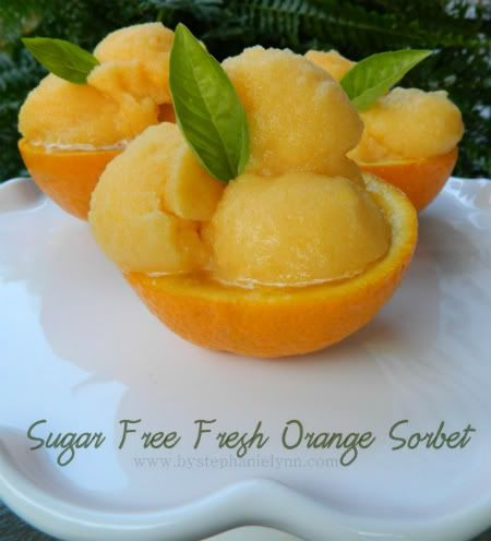 Under The Table and Dreaming: Sugar Free Homemade Sunkist Orange Sorbet {Green is Good}