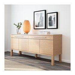 IKEA - BJURSTA, サイドボード, バーチ材突き板, , 扉にはノブも取っ手も付いていませんが、軽く押すと開きます2つの引き出しにはボールベアリングスライドを採用。抜け落ち防止のストッパー付きで、スムーズに開け閉めできます可動棚2枚付き。収納するものに合わせて棚の位置を調節できます