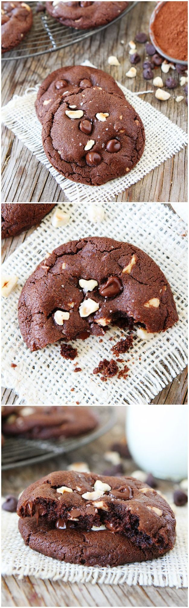 Double Chocolate Hazelnut Cookies with Sea Salt Recipe on twopeasandtheirpod.com These cookies are divine!