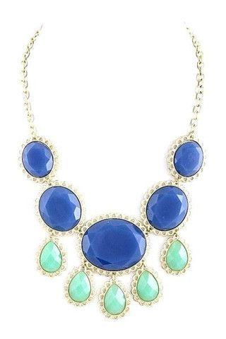 cobalt & mint statement necklace...love these colours