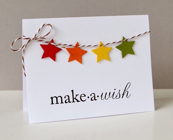 """Use a small star punch for the stars and line them up on baker's twine for this simple handmade birthday card. You can also use a """"happy birthday"""" stamp, hand write the sentiment, or punch/cut individual letters."""