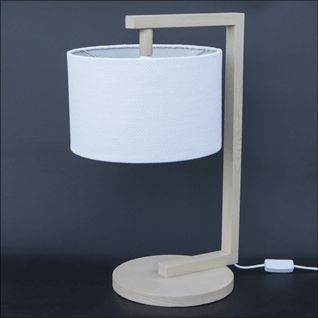 Wooden table light with shade.