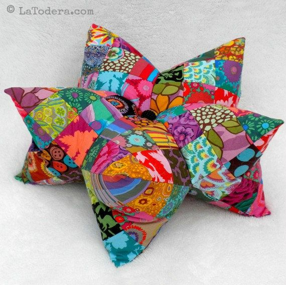 Patchwork Star Pillow and Pincushion Pattern by La Todera. DIY 3D star pillow here shown in multicolor.
