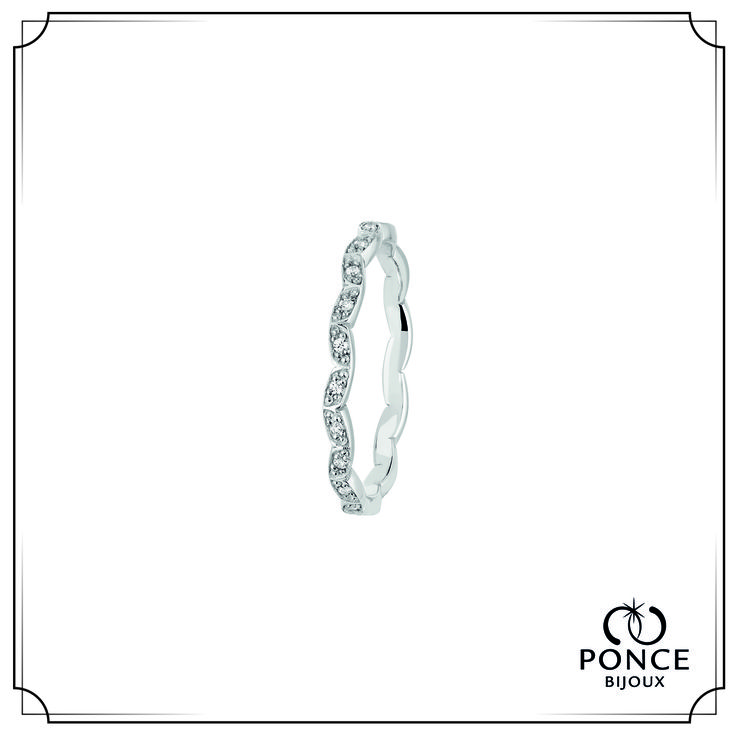 HITA FOREVER Alliance Hita Forever, Or gris, Modèle tour Complet, pavage diamants 22 x 0,005 ct H-SI Poids total 0,11 ct Largeur 2,5 mm