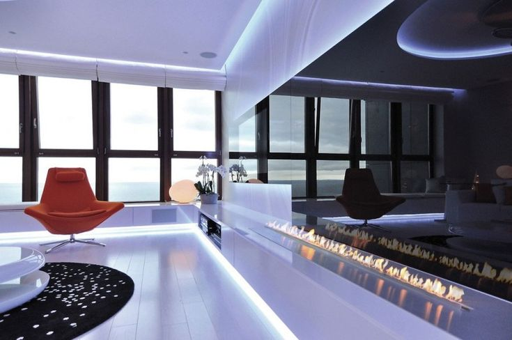 View, media, fireplace | MSWW | apartment located on the Sea Towers, a mixed-use skyscraper complex in Gdynia, Poland