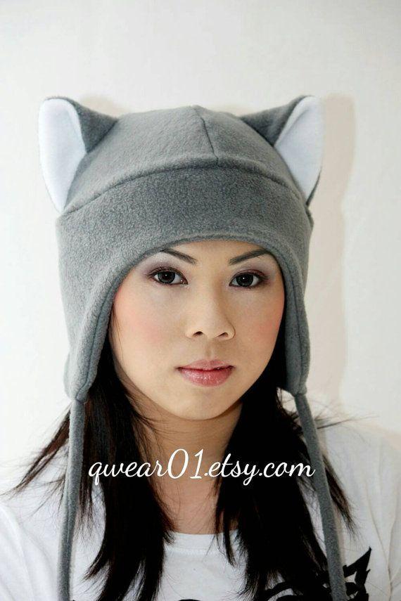 Grey cat, cat ears, cat ears hat, fleece hat, winter hat, snowboarding hat, ski hat, aviator style, kitty cat, anime, convention, warm hat