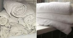 Un truc efficace pour rendre les serviettes de toilettes comme neuves:un lavage au vinaigre blanc+un lavage au bicarbonate de soude