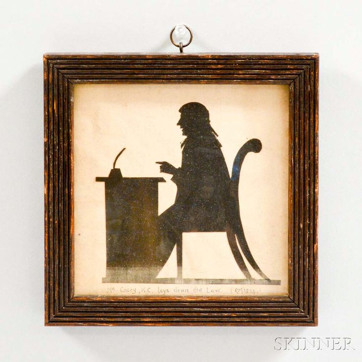 """Framed Silhouette of a Lawyer, 19th century, inscribed """"Mr. Casey, K.C. lays down the law,"""" ht. 6 1/2, wd. 6 1/2 in."""