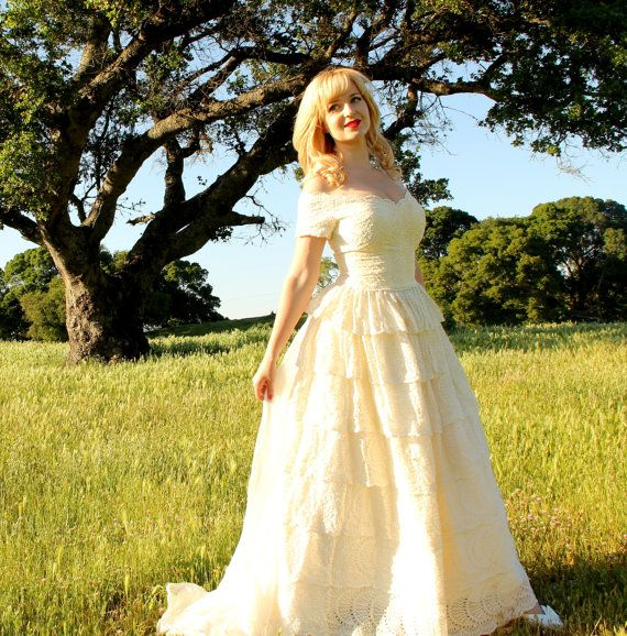 Lovely Vintage s Wedding Dress in Tiered Eyelet Cotton Lace and Silk Chiffon Train by Priscilla of