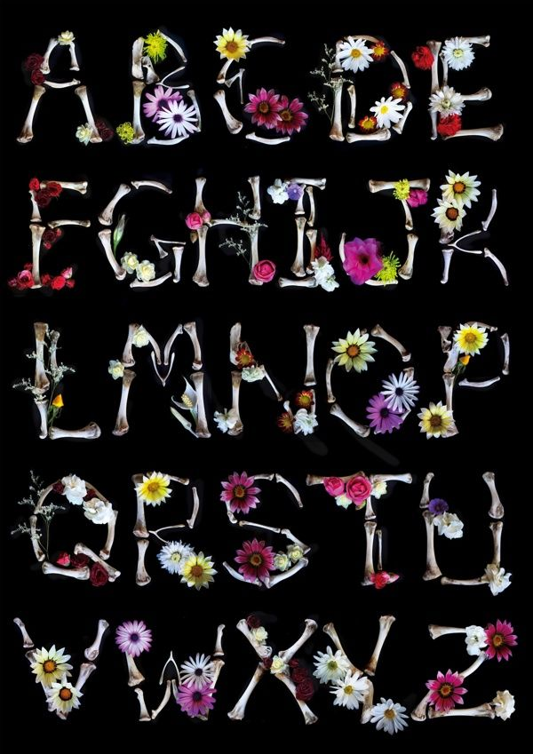Hand made student work Typography; made from bones and flowers.