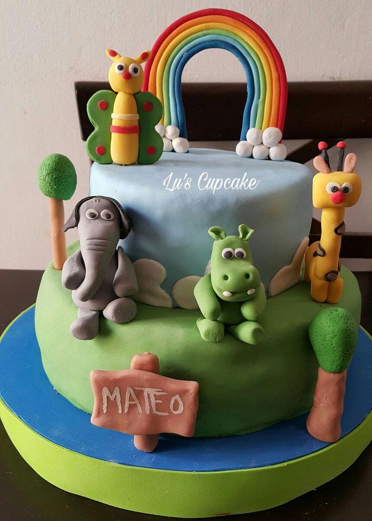 Birthday cake animalitos de la selva 😍
