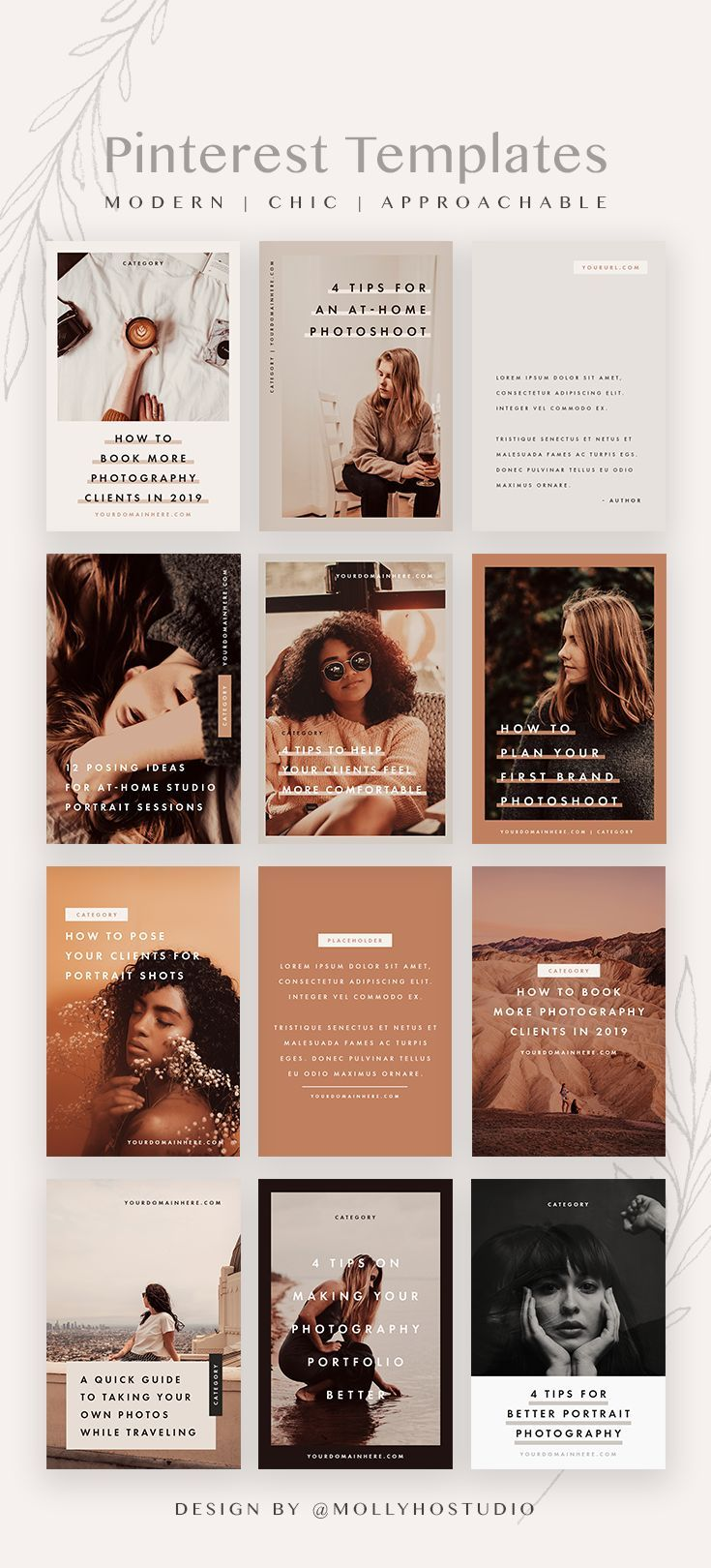 Modern Pinterest Template Set Pinterest Templates Social Media Business Blog Post Graphics