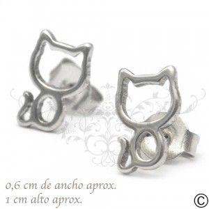 ERT_1040, aros, acero, circón, fiesta, accesorios, moda, joya, gato