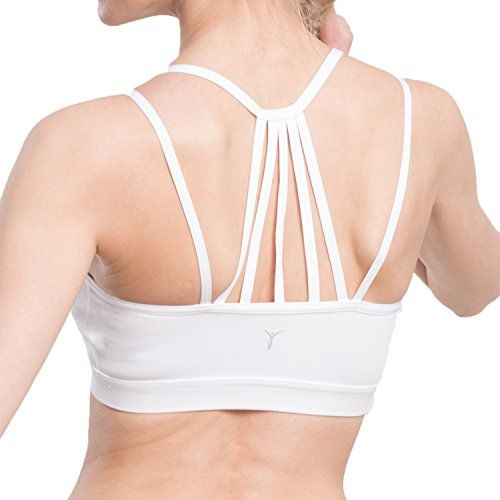 Women's Sexy Strappy Wirefree Yoga Sports Bra Support Workout Padded Running Bra M White *** Click sponsored image for more details.