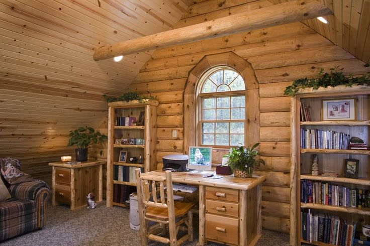 1000 images about log home office on pinterest loft for Log home sunrooms