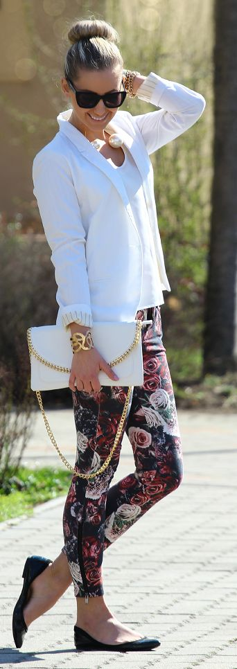 white blazer + floral pants