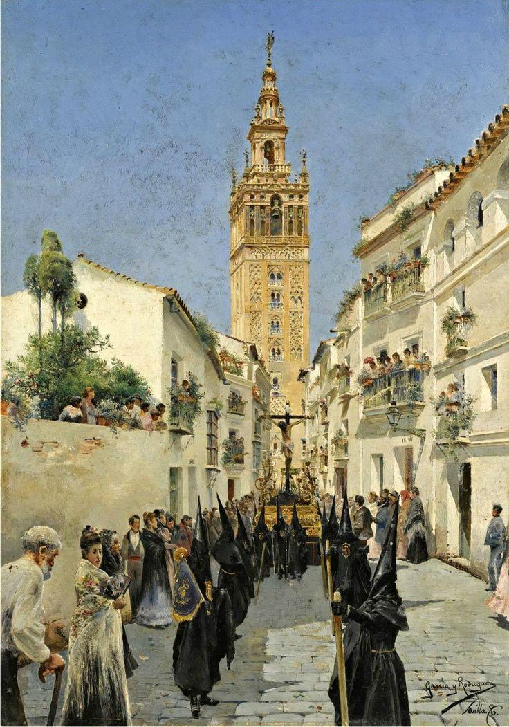 Manuel García y Rodríguez - Procesión de Pascua en Mateos Gago Calle, Sevilla