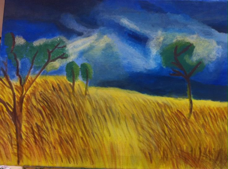 My painting- Cornfield inspired by Vlaminck