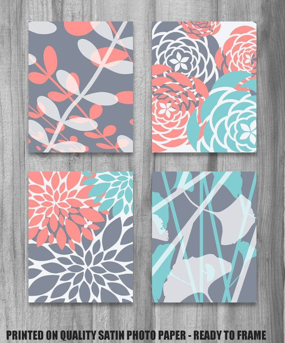 Coral Turquoise Gray Art Print Set Modern Vintage Floral Nature Prints 8x10 Set Of 4 Grey Bedroom Home Decor