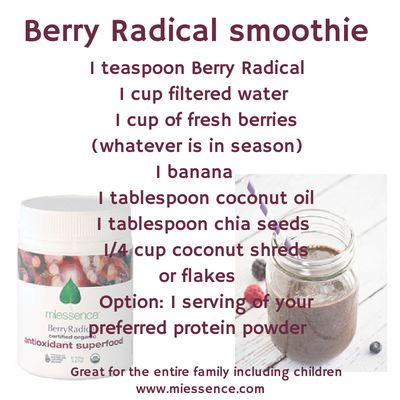 #Miessence #BerryRadical smoothie  Here is an easy recipe. Add to it whatever takes your fancy