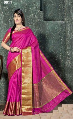Falguni Tusser Silk Pink Color Embroidered Border Saree
