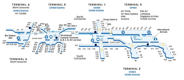 Houston George Bush Intercontinental (IAH) Airport Map