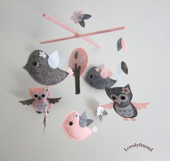 """Baby Crib Mobile - Baby Mobile - Mobile - Crib mobiles - Felt Mobile - Nursery mobile - """" Grey and pink owl and bird """" design on Etsy, $78.00"""