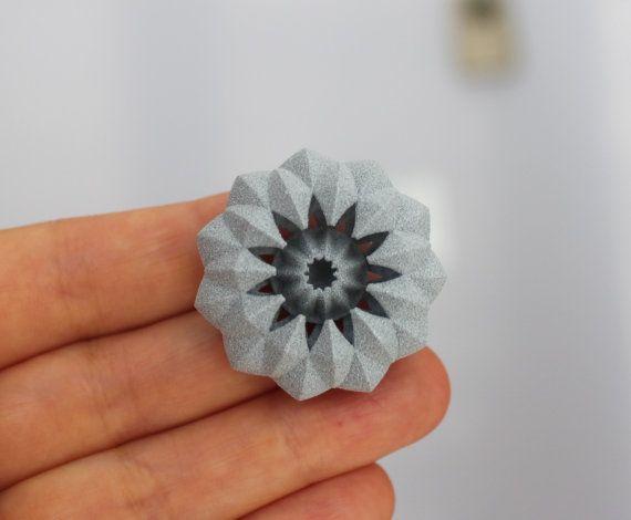 Contemporary Unisex Brooch Pin. 3D printed alumide by kormar