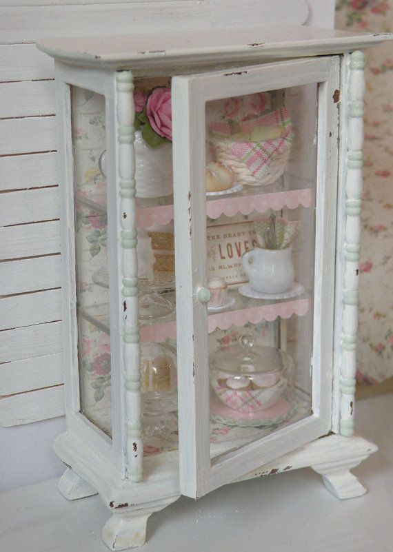 Miniature Bakery Hutch Titled Domestic by CynthiasCottageShop