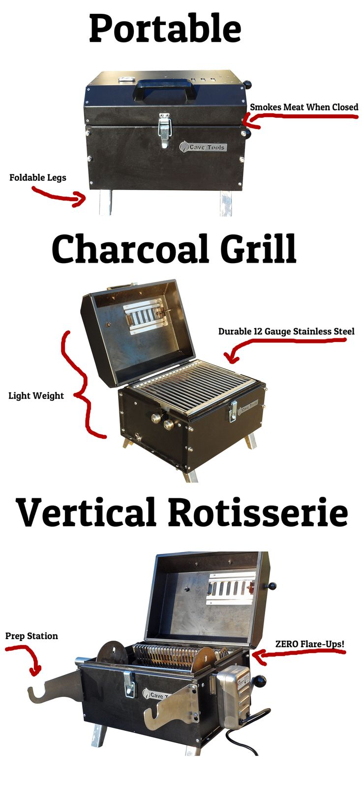 http://cavetools.com/products/portable-charcoal-grill Award Winning Portable Charcoal Grill and Rotisserie Grill Combo